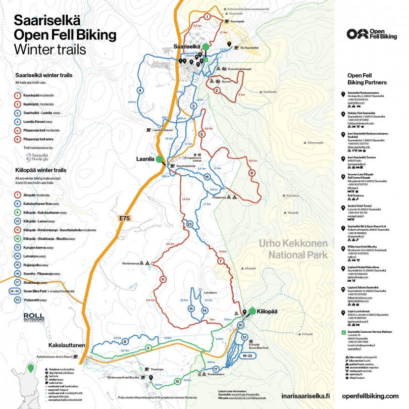 Kartasta löytyy talven 2020-2021 talvipyöräilyreitit Saariselällä