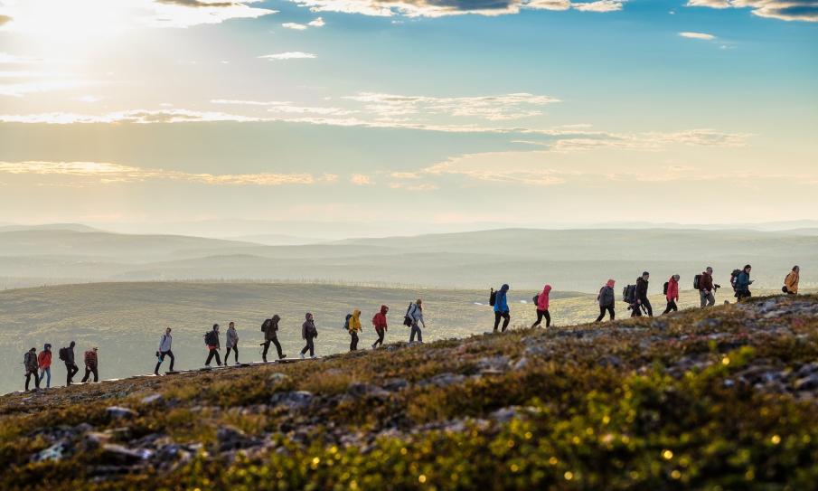 Kuvassa on vaeltajia Kiilpään polulla keskiyön auringossa. kuva:  Juha Kauppinen.