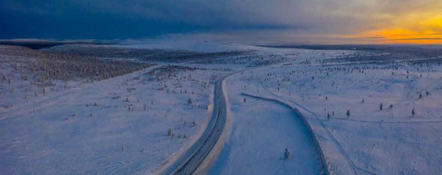 Talvinen kuva Kaunispäästä ja Magneettimäen yläosasta. Kuvaaja Pertti Turunen