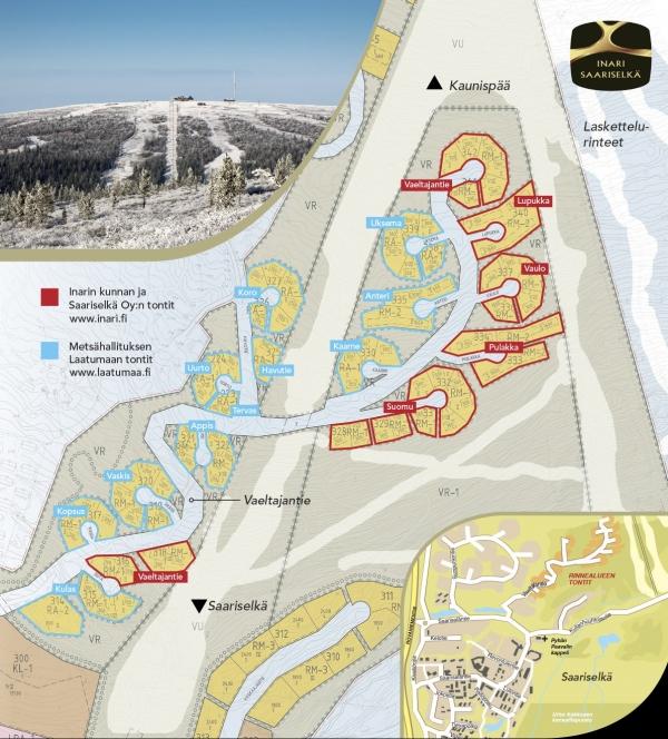 Kuvassa on Saariselän rinnealueen tonttikartta. Tonttikartassa on näkyvillä kaikki 72 Rinnealueen tonttia. www.saariselkaoy.fi