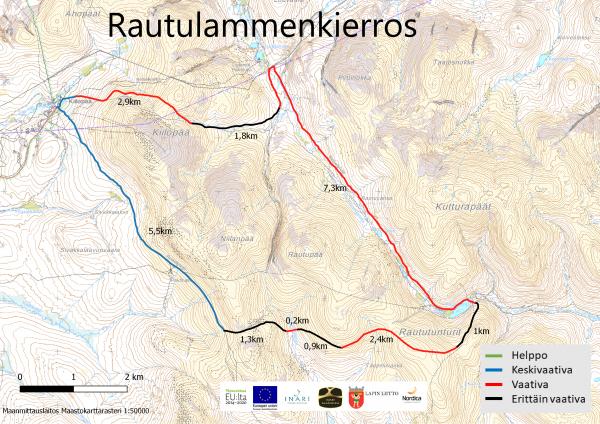 Kuvassa on kartta, jossa on reittimerkintänä Rautulammenkierros maastopyöräilijöille.