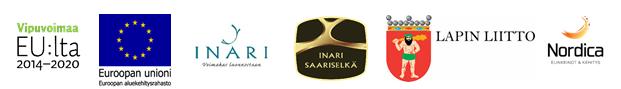 Kuvassa on EAKR-logo, Vipuvoimaa EU:ltä logo, Inarin kunnan logo, Inari-Saariselkä -logo sekä Lapin liiton vaakuna.
