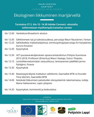 Ekologinen liikkuminen Inarijärvellä ja ympäristössä -infoluennon ohjelma