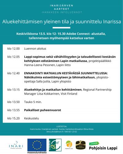 Aluekehittämisen yleinen tila ja suunnittelu Inarissa -infoluennon ohjelma