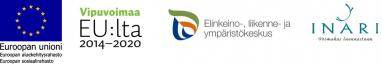 Kuvassa on Smoothly into Arctic Life -hankkeen rahoittajien logot: EU:n aluekehitysrahaston Euroopan sosiaalirahaston logo, Vipuvoimaa EU:lta 2014- 2020 -logo, ELY-keskuksen logo sekä Inarin kunnan logo.