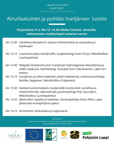 Ainutlaatuinen ja puhdas Inarijärven luonto -infoluennon ohjelma