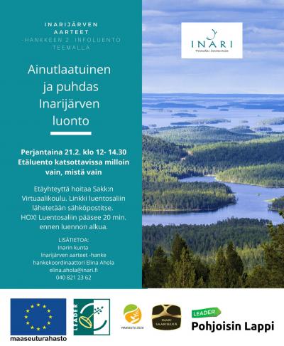 Kutsu Ainutlaatuinen ja puhdas Inarijärven luonto -infoluennolle 21.2.2020
